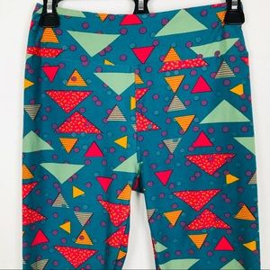 LuLaRoe Blue Aztec Shapes Blue Leggings